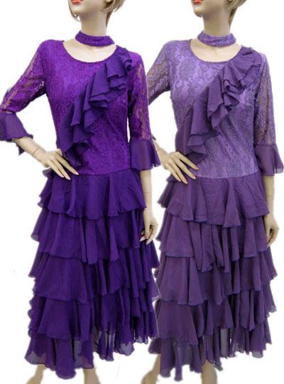 フラワー刺繍段々フレアモダンドレス