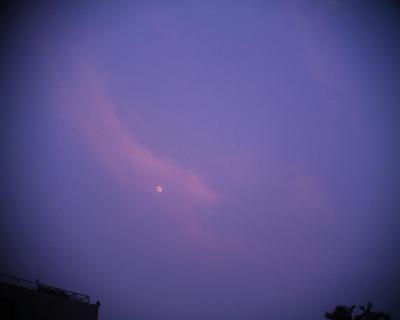 夕焼け雲に月:R2改