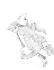 セブンスドラゴンのアリエッタとモモメノ。