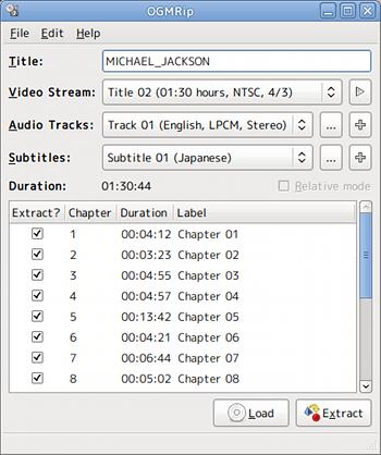 OGMRip Ubuntu DVDリッピング チャプター