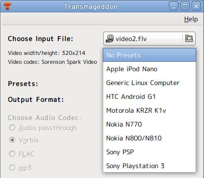 Transmageddon Ubuntu 動画変換 プリセット