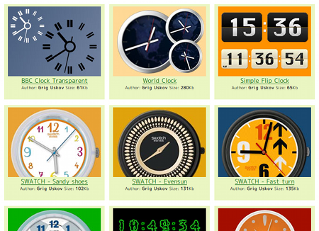 PerfectClock Ubuntuガジェット ガジェット時計 スキンを選ぶ