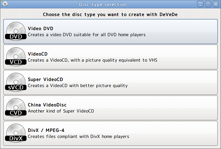 DeVeDe Ubuntu ライティングソフト DVD-Video メニュー