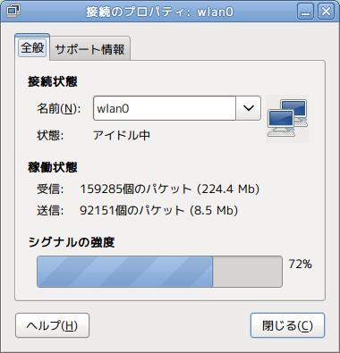 NetStatus Ubuntu パネルアプレット 無線LAN シグナル確認