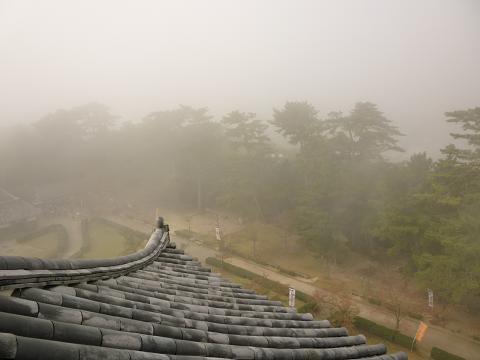 松江城天守閣の最上階からの眺め