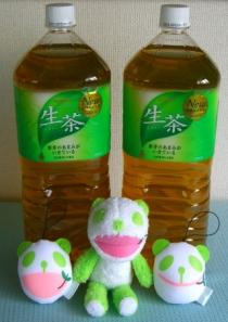 小さな生茶パンダ先生!のぬいぐるみの顔くらいの大きさです。