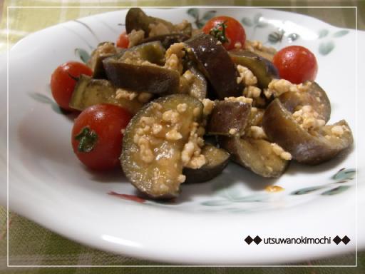 なすとプチトマトの鶏そぼろ味噌チャップ炒め_2