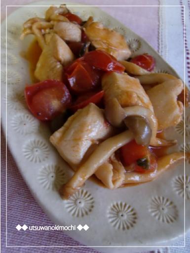 鶏むね肉とプチトマトのケチャ酢炒め_1
