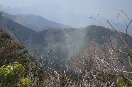 沸き立つ花粉と両神山