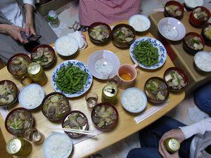 芋煮とご飯と枝豆