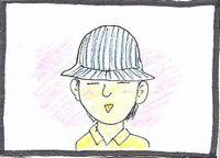 帽子をかぶる五十嵐正一