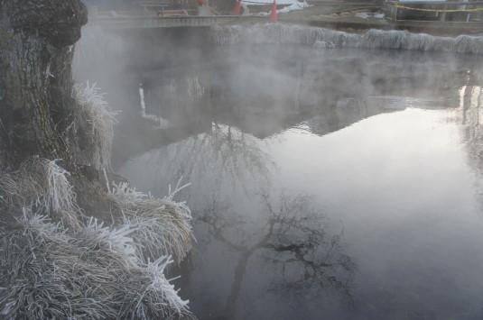 冬の忍野八海 湧池