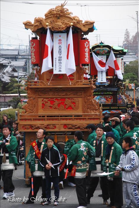 (西条祭り関係) 天皇陛下御即位20周年奉祝 伊曽乃神社1 下町中だんじり(屋台) 天皇誕生日2009年12月23日