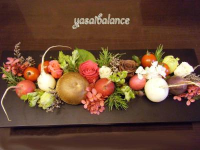 野菜アレンジメント食卓へ