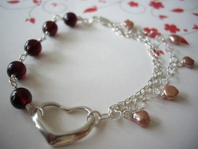 Rock my heart sterling silver bracelet