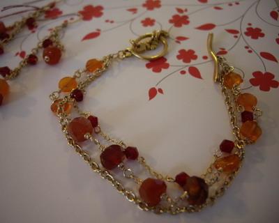 Three strands charm toggle bracelet