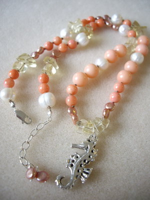 sea horse and coral necklace