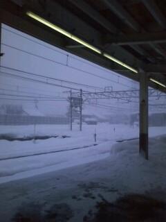 110110_雪景色(越後湯沢駅ホーム)