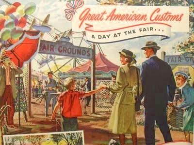 1940s SWIFT MEATS vintage illustration family fairground carnival advertisement