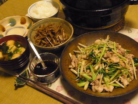 7根三つ葉と豚肉のさっと炒め定食