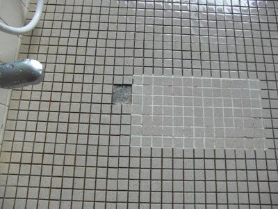 浴室床タイル補修
