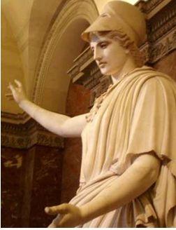 ヘルメットを被った女神アテナ
