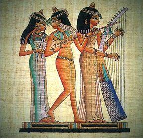 エジプトのパピルスに書かれたハープ