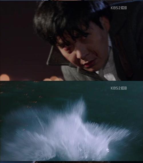 強3H うう・・チョン・イルドはな、イルドはな・・ボシャーン!海に落ちてしまうイ・ミヌの最期